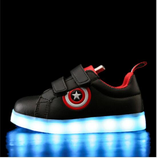 Captain America Children Shoes Light Led Luminous Sneakers Boys Girls USB Charging Sport Casual Shoes For Kids Glowing