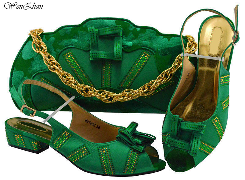 Good Sellling Soft Shoes With Matching Bags Dark Green for Wedding lady Shoe and Bag to Match for party 38 43 B811 24