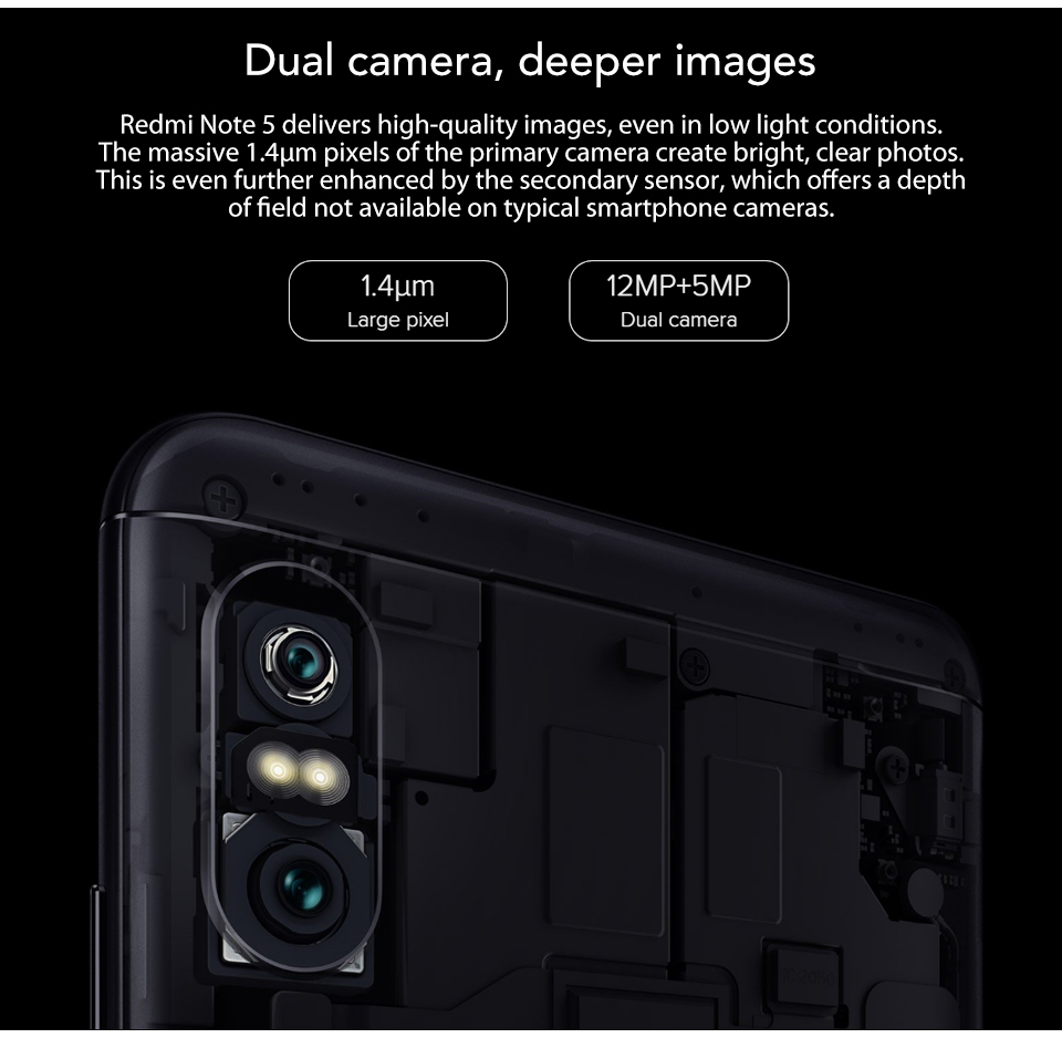 US $137 99 |Original Global Firmware Xiaomi Redmi Note 5 3GB RAM 32GB ROM  Snapdragon 636 Octa Core Full Screen Dual Camera 12MP+5MP Mobile-in Mobile