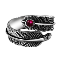 925 Silver Jewelry Vintage Thai Silver Ring Women Open Ring Feather Finger Ring Fashion Male