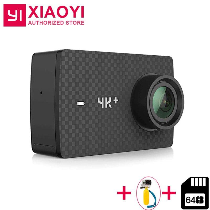 Международный Xiaomi YI 4 К ПЛЮС Действие Камера 12MP 2,19 RAW 155 градусов Ambarella H2 4 К/60fps + чехол + палка для селфи + 64 ГБ SD карты