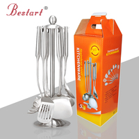 7 Piece 18 10 Stainless Steel Kitchen Utensils Kitchen Tool Set Satin Ss Soup Ladle Spoons