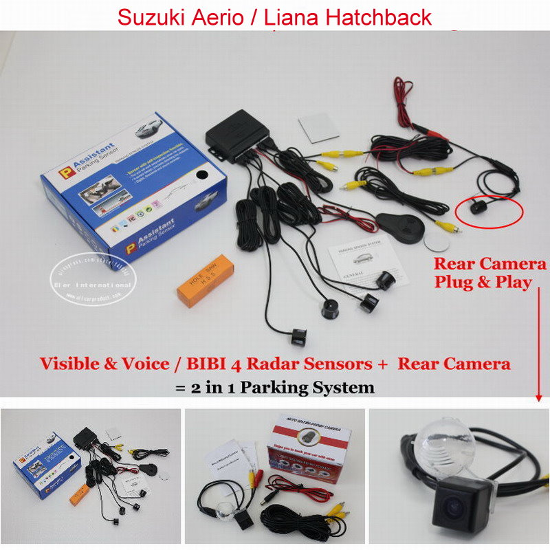 ФОТО For Suzuki Aerio / Liana Hatchback - Car Parking Sensors + Rear View Camera = 2 in 1 Visual / BIBI Alarm Parking System