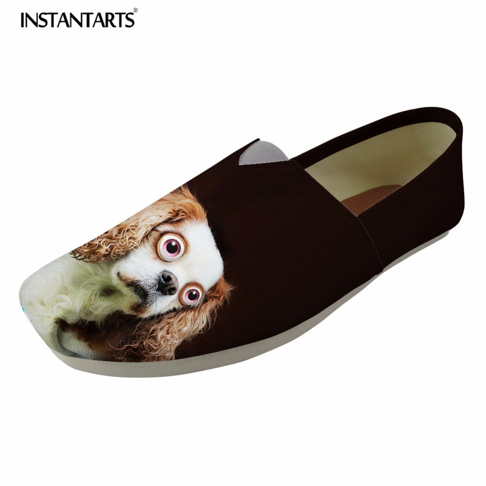INSTANTARTS Spring Loafers Casual Shoes Women Canvas Flats Shoes Black Cute Animal Dog Cat Pattern Woman Slip-on Slacker Shoes