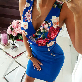 2019 Women Deep V Neck Sexy Dresses Autumn Floral Print Button Bodycon Bandage Casual Long Sleeve Party Short Mini Dress 1