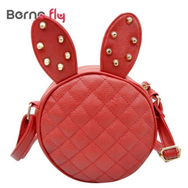283a61001410 Arrival new cute Messenger Bag 4colors Delicate Women bags Summer Rabbit  Ear Round small bag for girls PU Leather bag