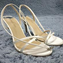 Women Stiletto Thin High Heel Sandal Sexy Ankle Strap Open Toe Ivory Satin Wedding Party Bridals Ball Lady Shoe 158-a