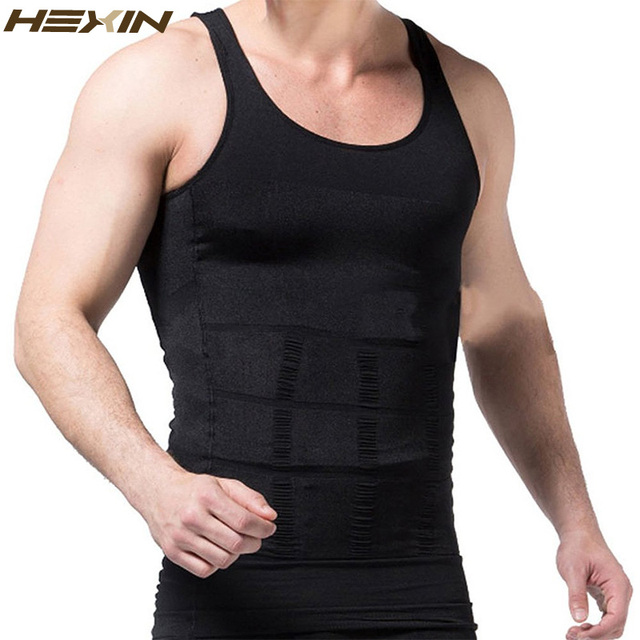 HEXIN Men's Slimming Body Shapewear Corset Vest Shirt Compression Abdomen Tummy Belly Control Slim Waist Cincher Underwear