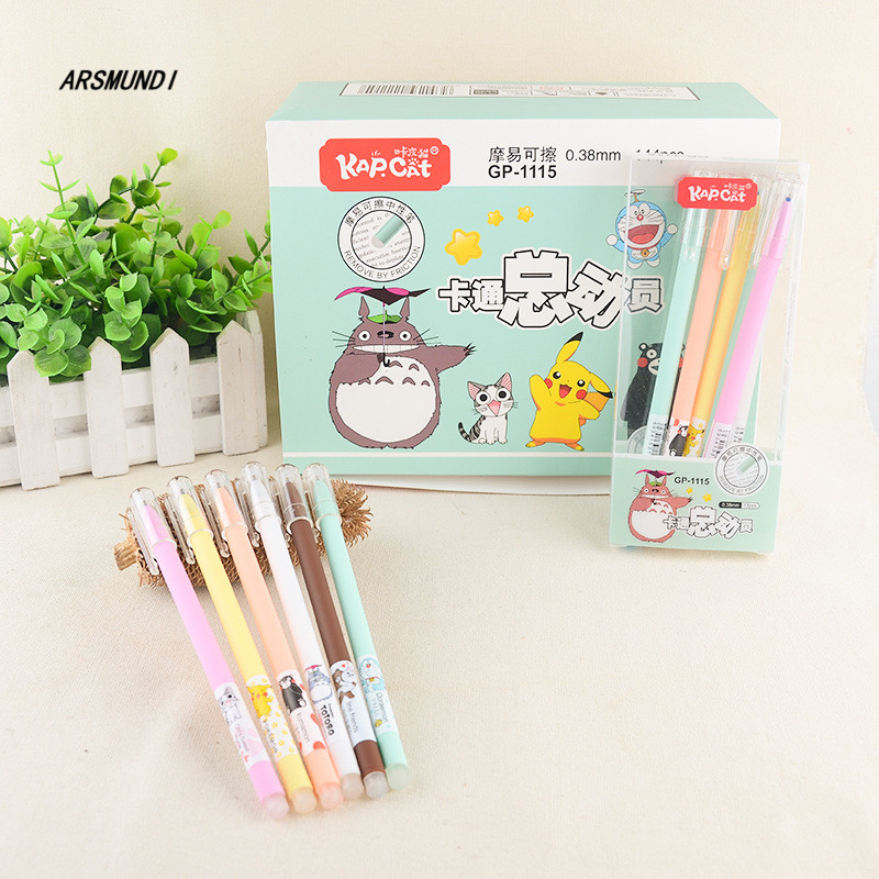 0.38mm Kawaii Chinchilla Erasable Pen Blue / Black Magic Gel Pen School Office Writing Supplies Student Stationery