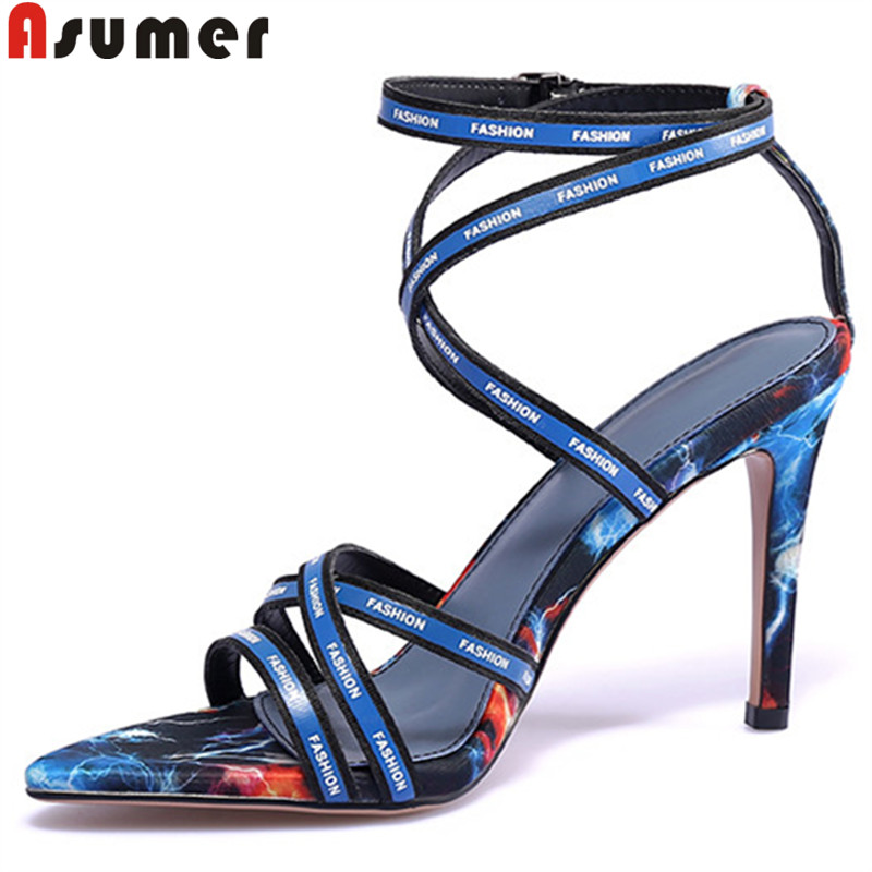 ASUMER Women Sandals Shoes Buckle High-Heels Ladies New Super Mixed-Colors 34-41