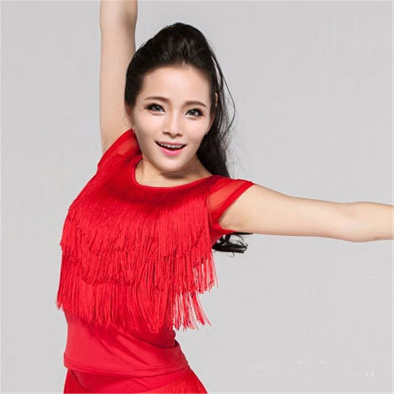 New Dance Tassel Tops Latin Ballroom Samba Կոստյումներ կանանց համար Կանացի կարճ թևք Նորաձևության եզրագծի ձևավորում Լատինական վերնաշապիկներ սև կարմիր