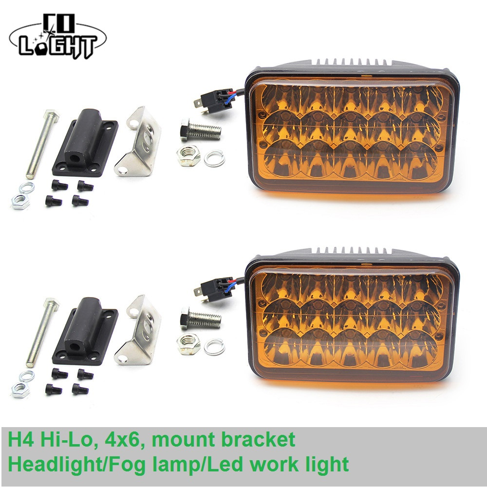 CO LIGHT 1 Set Led Fog Light 45W 2000-3000K Fog Lights for Polo Lada Uaz Gaz Toyota Jeep Kia Niva H4 4x6 Headlight 9-32V co light 1 pair led headlight 4x6 45w high low fog lamp for kenworth gmc chevrolet ford jeep lada niva 4x4 offroad 9 32v 3000k