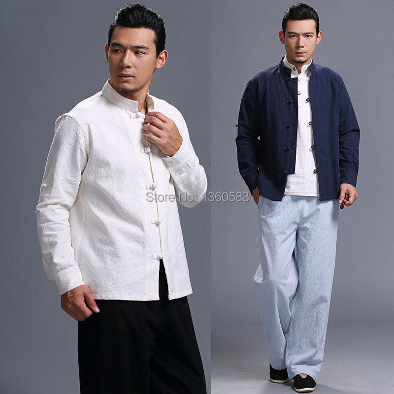С длинным рукавом хлопчатобумажные и льняные традиционной китайской одежды тан костюм верх мужчин кунг-фу тай-чи парадная форма падение осень рубашка блузка пальто