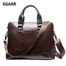 SGARR Vintage Crazy Horse PU Leather Men Briefcase Business Handbag Men's Shoulder Bag Crossbody Laptop Bag Black Male Briefcase