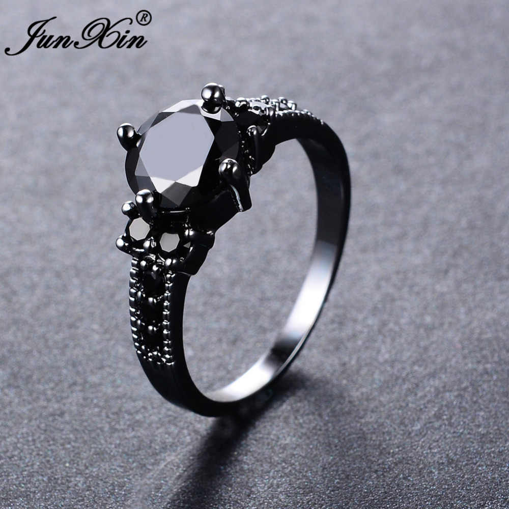 JUNXIN Grande Rotonda Nero Zircone Anelli Per Donna Black Gold Filled Fashion Wedding Party di Fidanzamento Anello Semplice Gioielli