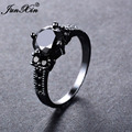 JUNXIN Big Round Black Zircon Rings For Female Male Black Gold Filled Fashion Wedding Party Engagement Ring Simple Jewelry