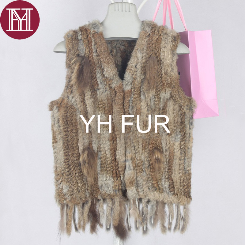 Image 2 - Winter women real rabbit fur vest with tassel lady knit 100% real