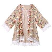 Women Lady Floral Printed Lace Cardigan Smock Jacket Blouse Loose Shawl Kimono