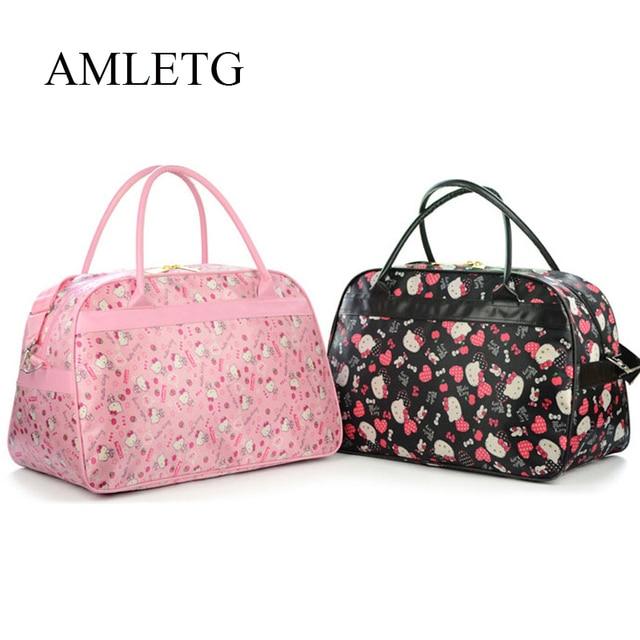 17ad21b3e0 AMLETG Cute Hello Kitty Cat Travel Bag Ladies Womens Cartoon Sports Bag  Large Capacity Handbag Waterproof Oxford Cloth Bags