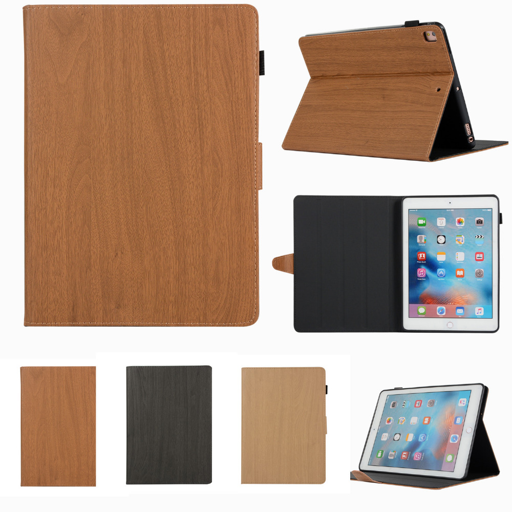 Leather Case For iPad 5 6 Air 1 2 Case Wooden Tablet Cover Stand Cases for Apple Protective Shell for ipad new pattern for apple ipad air 2 case book style pu leather protective skin for ipad 6 cover with card holder tablet accessories