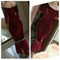 Vestidos De Novia borgoña Prom Party Dress Arabia saudita manga larga De la sirena vestido De noche con las perlas tobillo longitud Formal CP571