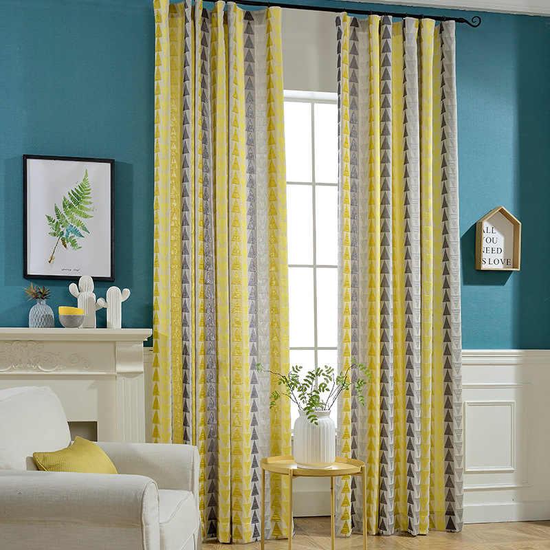 Slow Soul треугольный синий, желтый, оранжевый Высокоточный жаккардовый занавес хлопок пеньковая занавес s для гостиной 3d спальни окна