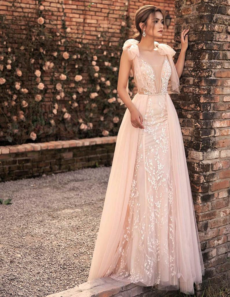LORIE Light Pink Princess Wedding Dress V Neck Lace Bride Dress A-Line Floor Length Tulle Backless Fairy Boho Wedding Gown