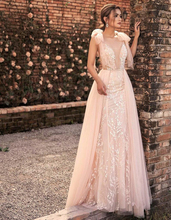 LORIE Light Pink Princess Wedding Dress V Neck Lace Bride A-Line Floor Length Tulle Backless Fairy Boho Gown