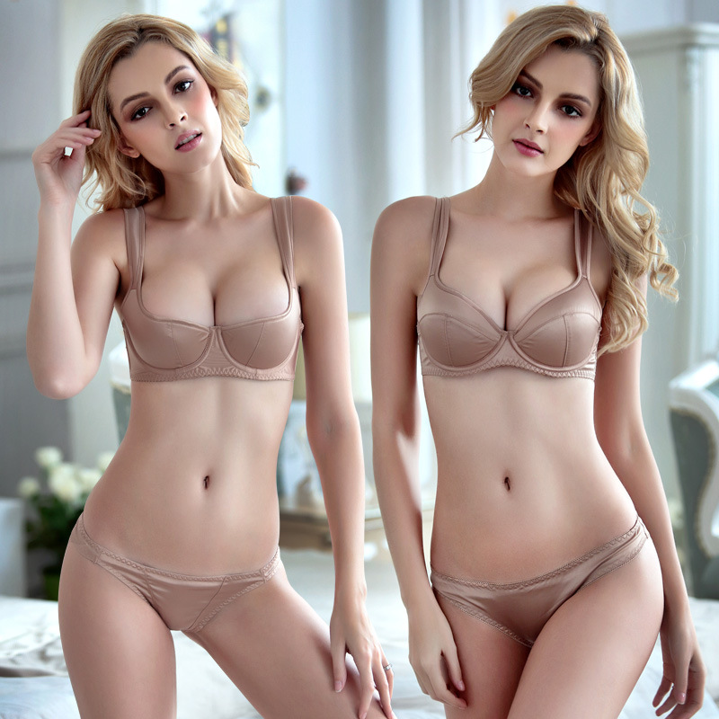 New Satin Smooth Bra Set Nude Women Brand Wide Strap Seamless Thin Large Cup ABCD Push Up Comfort Underwear Silky Solid Lingerie