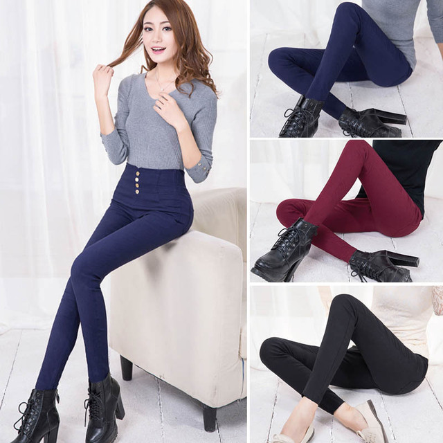 Women's Solid Color Stretchy Pencil Pants