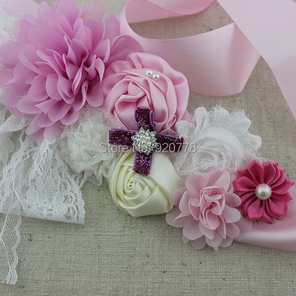 1 Stücke Neue Ankunft Blumenmädchen Schärpe Pink Ribbon Gürtel Chic Shabby Blume Schärpe Mutterschaft Schärpe Hochzeit Schärpe Eine VollstäNdige Palette Von Spezifikationen