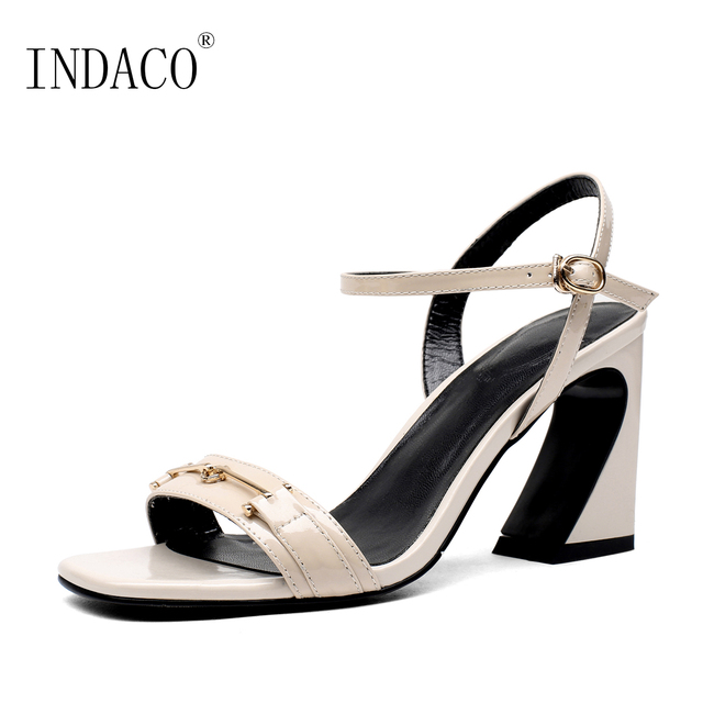 Aliexpress    Buy High 2018 Summer High Buy Heels Sandalos Donna Ankle Strap Nero Beige Pelle Sandalos 8.5cm Sandalo Donna from Reliable sandali donna ... 3fd282
