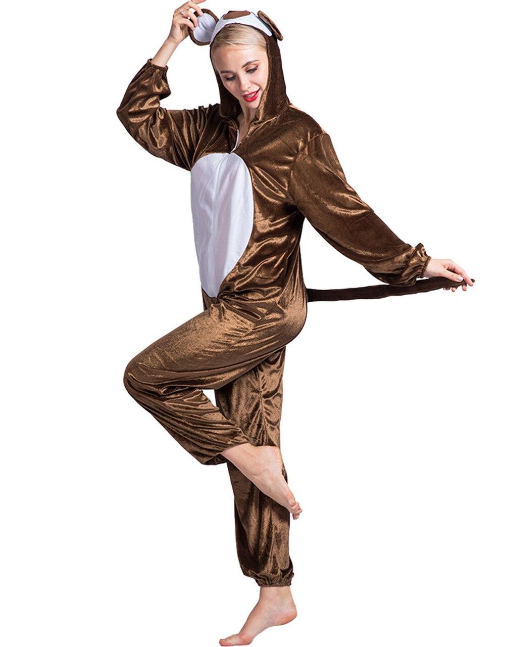 2018 nouveau Kigurumi Animal bande dessinée femmes Onesies singe Cosplay à capuche vêtements de nuit hiver unisexe pyjamas