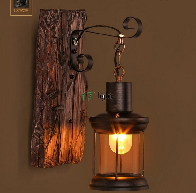 Retro Industrial Wall Lamp Old Boat Wood American Country Nostalgia ...