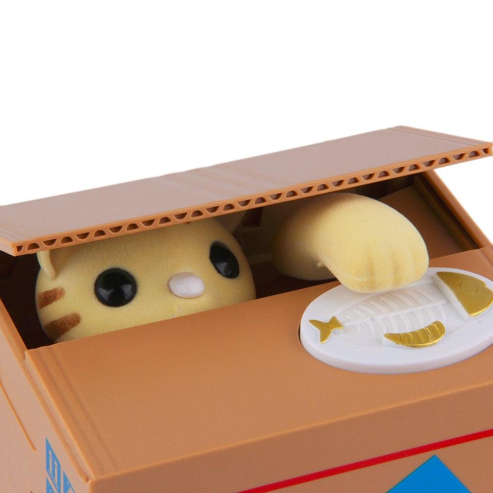 Toys Piggy Bank Cat Steal Money Coin Saving Box Pot Case <font><b>Battery</b></font> Operated Gift
