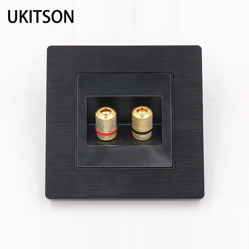 Черный цвет, 2 порта, разъем для динамика, настенная панель, металлическая рамка, аудио разъем, лицевая пластина 86x86мм