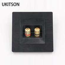 Black Color 2 Ports Speaker Connector Wall Panel Metal Frame Audio Sound Plug Face Plate 86x86mm