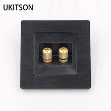 Conector de altavoz de 2 puertos, Color negro, Panel de pared, marco de Metal, conector de sonido de Audio, placa facial, 86x86mm