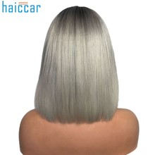 HAICAR Multicolor Wigs for Women Synthetic Sexy Gradient Gray Party Wigs Short Curly Hair Mixed Colors Synthetic Wig Dev28(China)