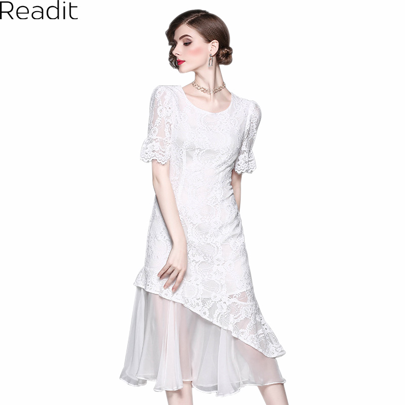 Readit Women Dress 2017 Summer Black White Calf Length Lace Dress Ruffle  Gauze Asymmetric Bottom Sexy Party Dress D2299 db5af555ccec