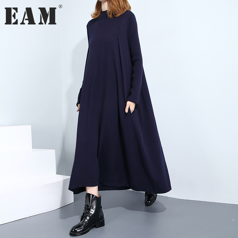 EAM 2017 New Autumn Winter High Collar Long Sleeve Solid Color Black Dark Blue Loose