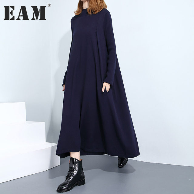 [EAM] 2018 New spring High Collar Long Sleeve Solid Color Black Dark Blue Loose Knitting Loose Dress Women Fashion JC025