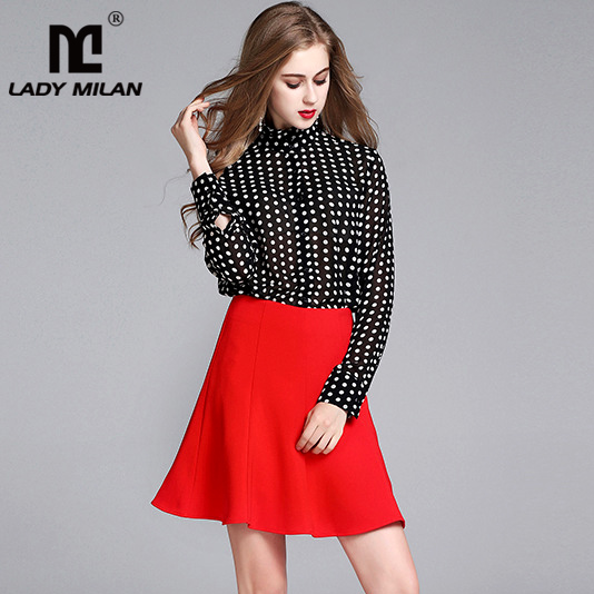 2018 Spring Summer Womens Ruffled Collar Long Sleeves Dots Printed Shirts with Red Skirts Fashion Elegant Two Piece Dress Sets