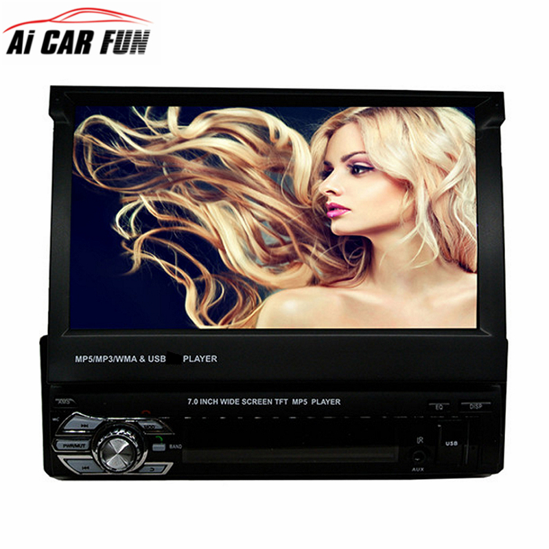 1 Din 7 inches Slip Down Car Stereo FM Only Bluetooth Tensile MP3 MP4 MP5 Player with USB/SD GPS navigation Car Radio Tuner 7 inch slip down 1din car stereo fm only bluetooth mp3 mp4 player with usb sd