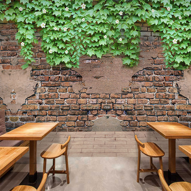 Custom 3d mural 3D Garden retro brick wall wallpaper green vine cement Cafe Restaurant bedroom living room wallpaper mural custom retro wallpaper brick wall 3d wallpaper mural for the living room bedroom kitchen backdrop wall waterproof pvc wallpaper