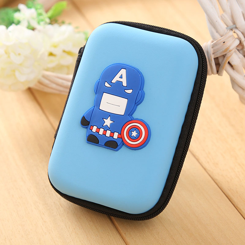 Hot New Silicone Coin Purse Anime Captain America Zipper Coin Key Wallet EVA Large Storage Headset Box USB Cable Pouch Bags containing package silicone rubber coin bag minion bag captain america gift promotional headset charger pouch holder coin purse