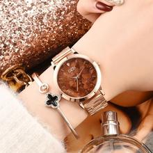 2019 Popular Watch Fashion Delicate Rose Gold Steel Wirst Quartz for Women Gift