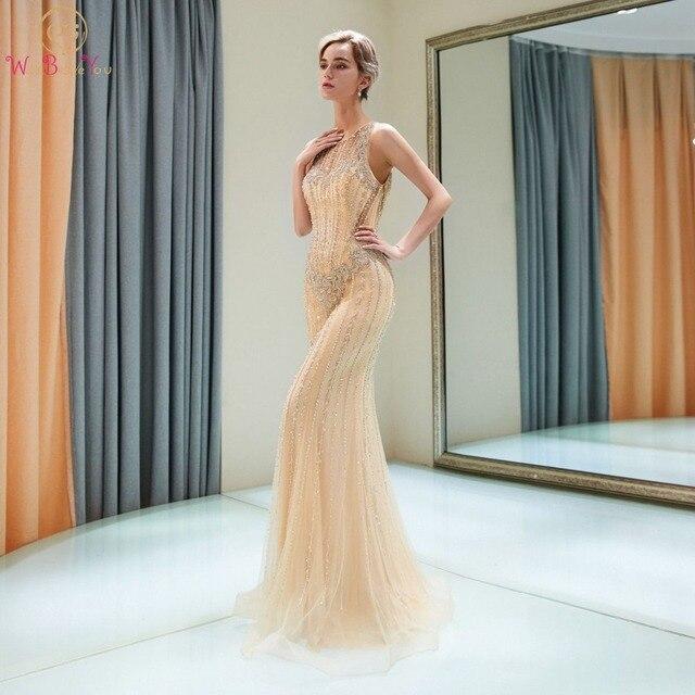Gold Prom Dresses Elegant Walk Beside You Handwork Beaded Crystal Cut Out  Mermaid Sweep Train Slit Vestido Fiesta Largo Robe Bal 85e2b5b6f0ed