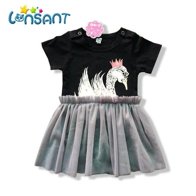 3238d75c23dc LONSANT Baby Summer Black Romper Short Sleeve Sweet Swan Printing Tutu  Dress Jumpsuits Baby Girl
