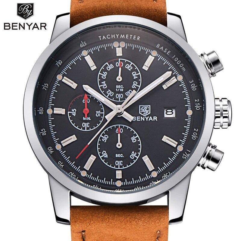 BENYAR Mode Chronographe Sport Mens Montres Haut Marque De Luxe Quartz Montre Reloj Hombre 2017 Horloge Mâle heure relogio Masculino